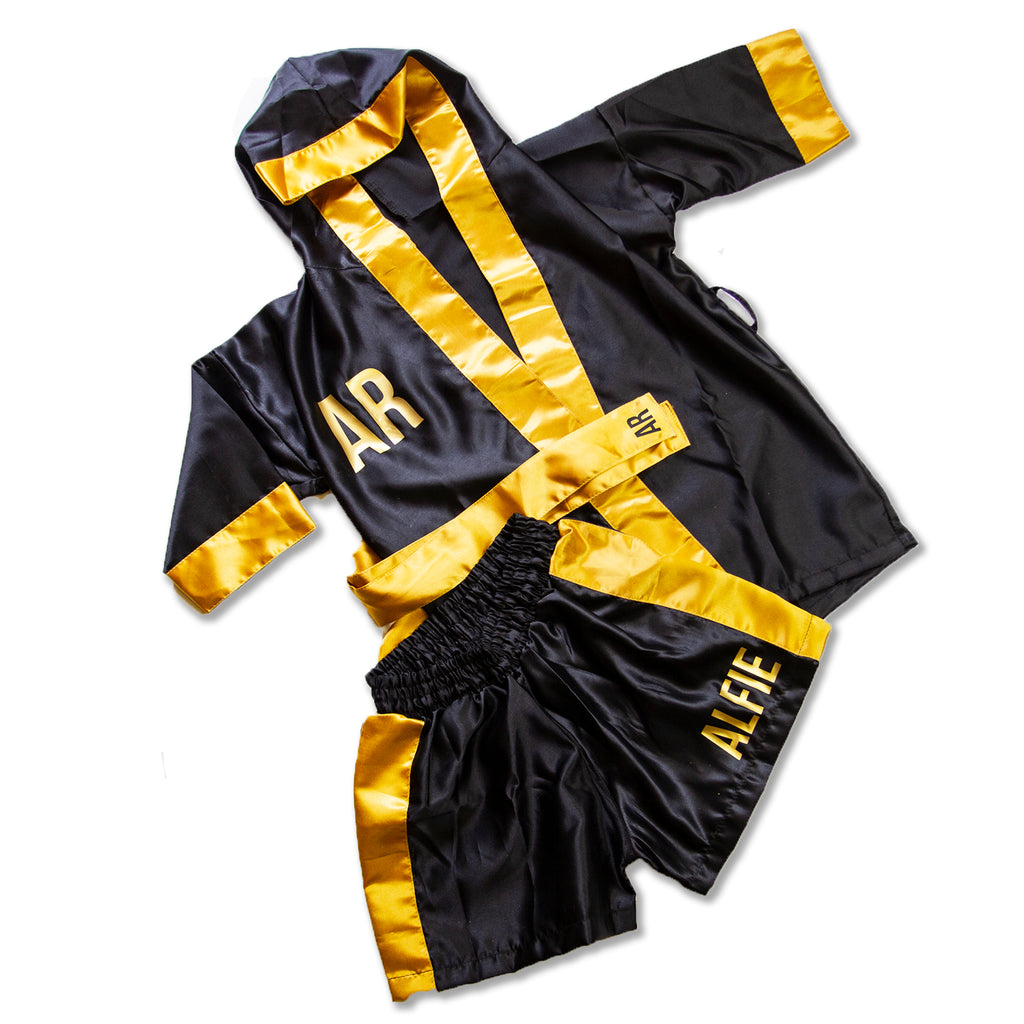 Kids/Baby Personalised Boxing Gown & Short Set - Black/Gold