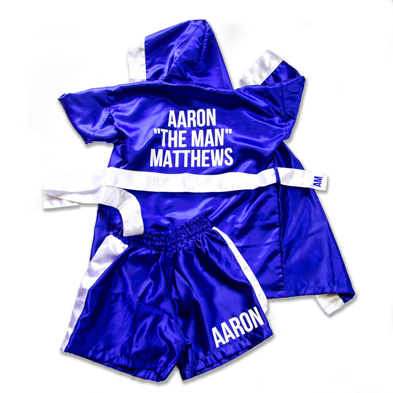 Kids/Baby Personalised Boxing Gown & Short Set - Blue/White