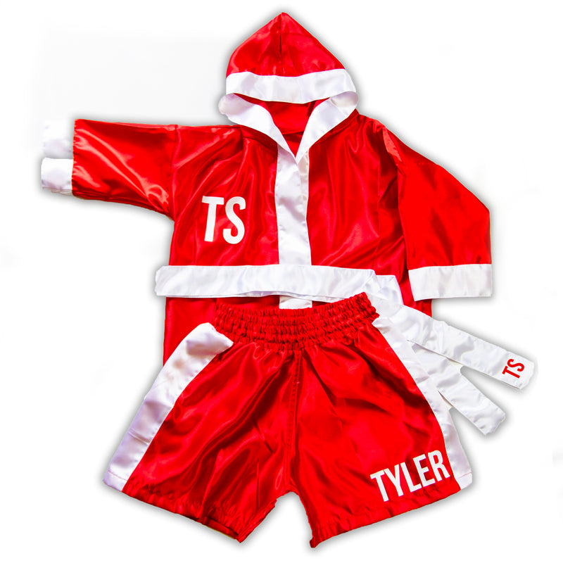 Kids/Baby Personalised Boxing Gown & Short Set - Red/White
