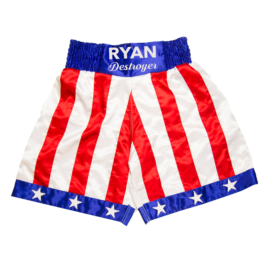 "Personalised Boxing Shorts - USA 'ROCKY"" Style - Kids"