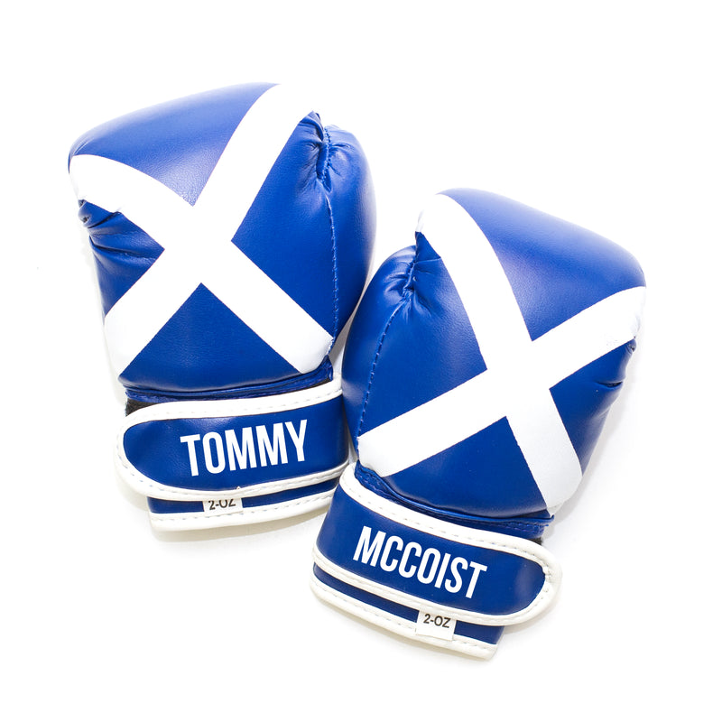 Personalised Baby Boxing Gloves - Scotland Flag