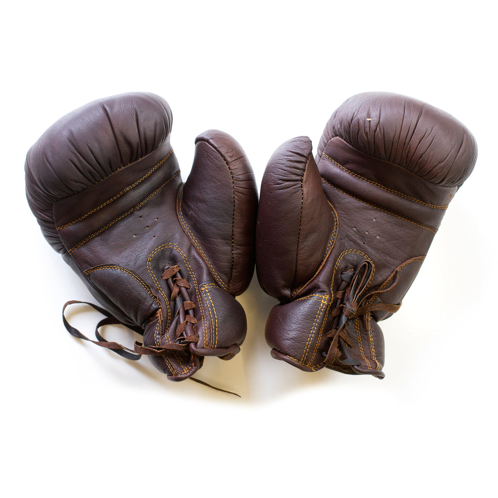 Full Grain Leather Vintage Traditional Boxing Gloves - Dark Brown