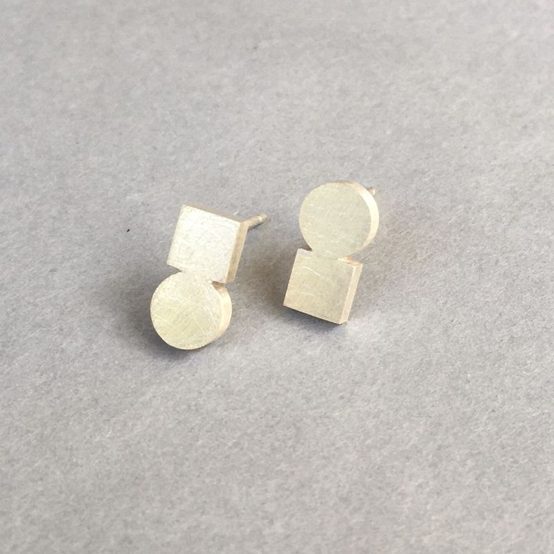 Circle + Square silver earrings