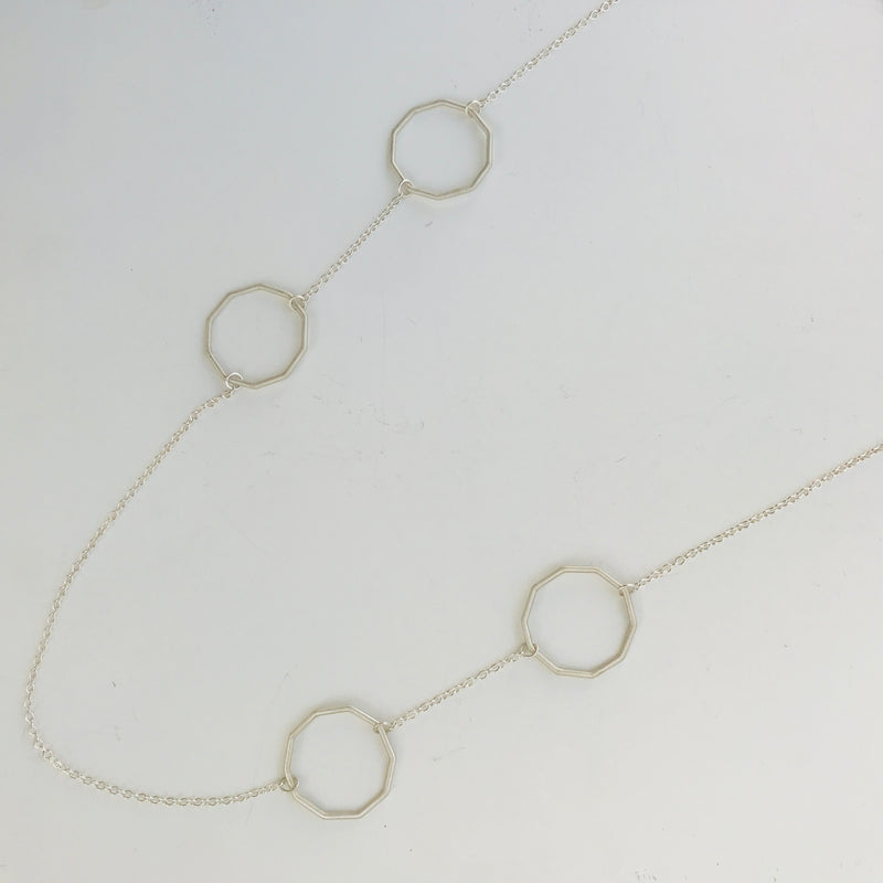 Long Decagon Silver Necklace