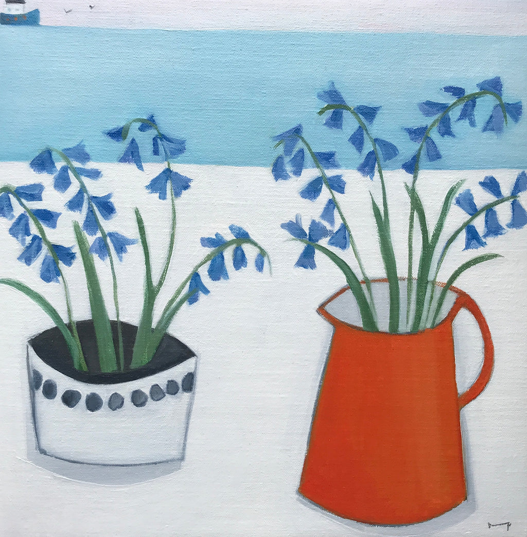 Bluebells in red jug