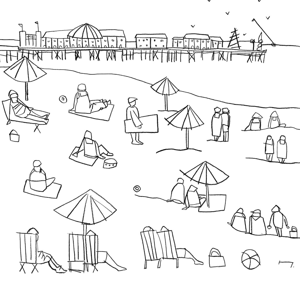 Katty McMurray original line drawing of Brighton Beach