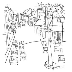Katty McMurray original line drawing of Brighton Laines