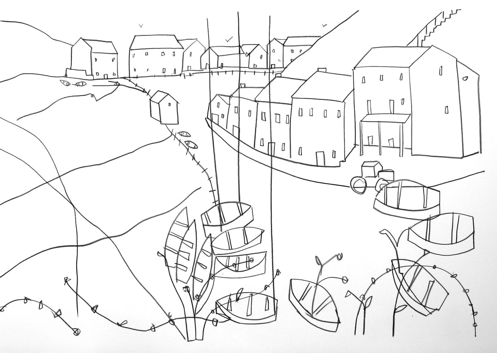 Original line drawing contemporary Devon landscape by Katty McMurray