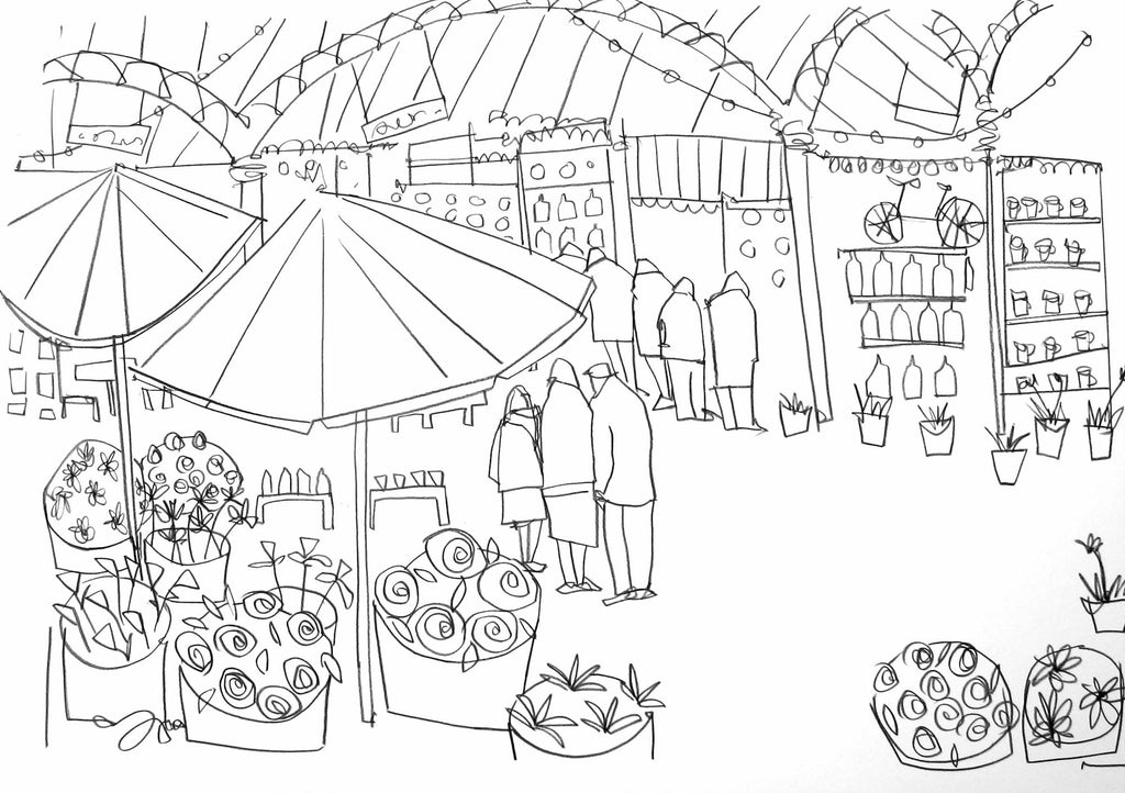 Original line drawing of Borough Market by Katty McMurrayMarket