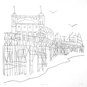 Brighton Pier Original Line Drawing by Katty McMurray