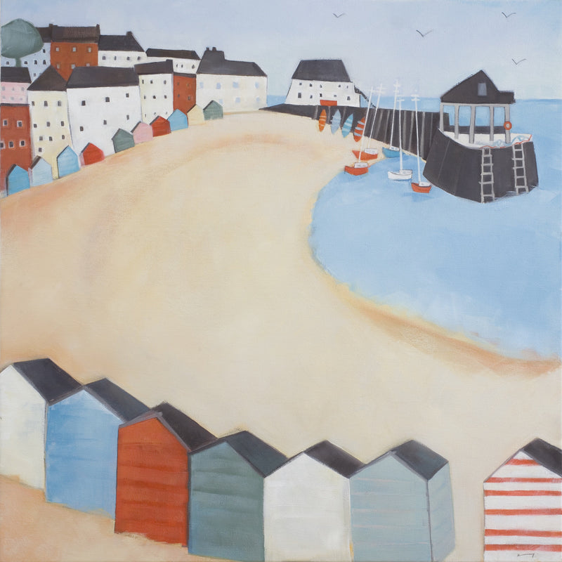 Broadstairs Beach Huts Oil Painting