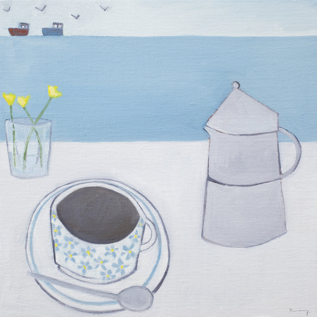 Coffee By The Pier Oil Painting