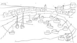 Original line drawing contemporary Cornwall landscape by Katty McMurray