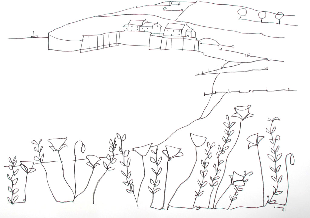 Original contemporary line drawing of Cuckmere, Sussex by Katty McMurray