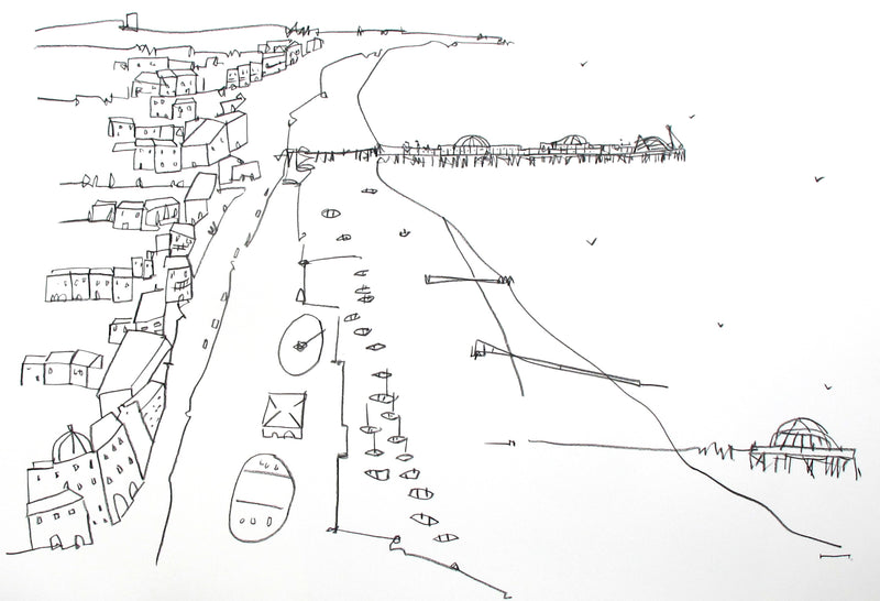 Original contemporary line drawing of Brighton's i360 by Katty McMurray