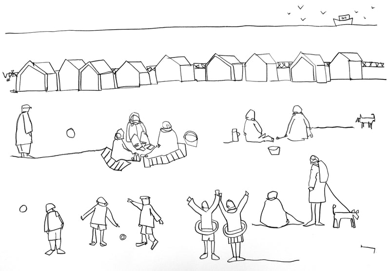 Original contemporary line drawing of Hove Lawns by Katty McMurray