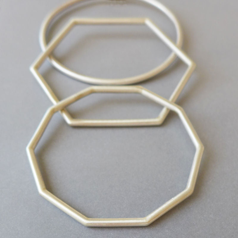 Chunky Hexagon SIlver Bangle