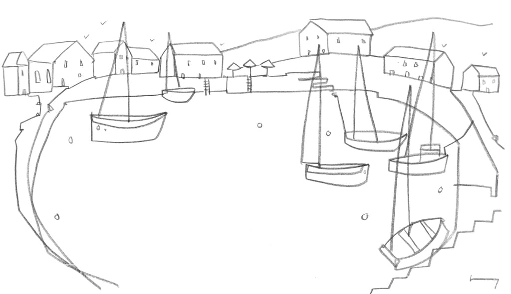 Original contemporary line drawing of Padstow, Cornwall by Katty McMurray