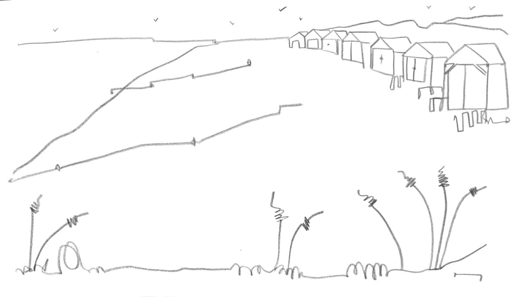 Original contemporary line drawing of West Wittering, Sussex by Katty McMurray