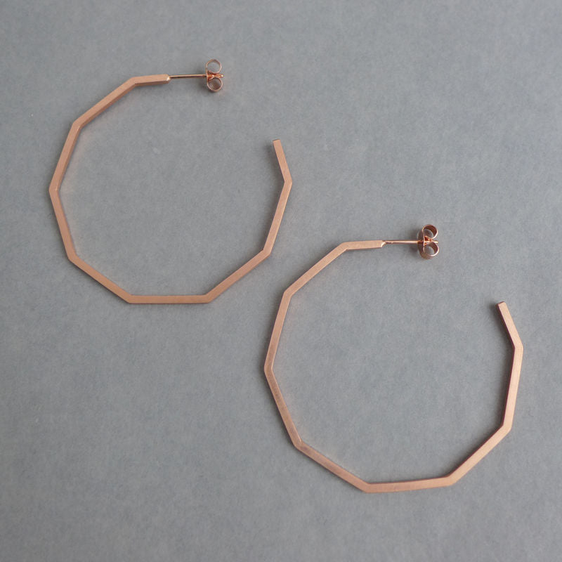 Large decagon hoop earrings rose gold vermeil