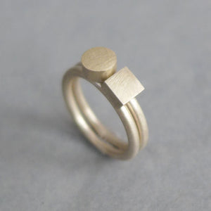 Square + Circle silver ring set