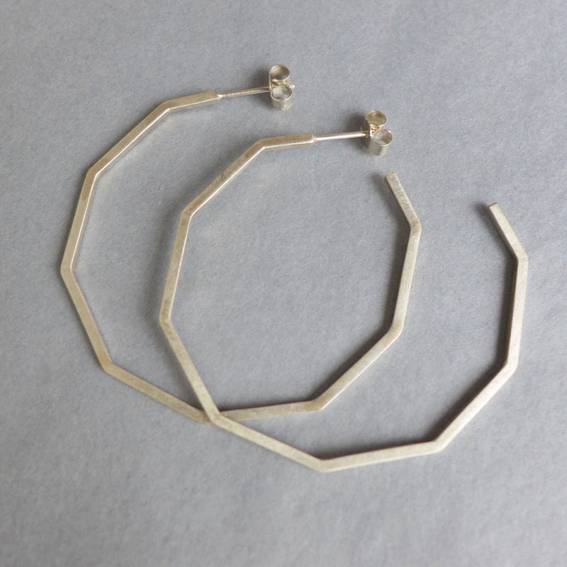 Large silver decagon hoop earrings