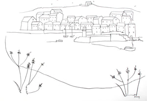 Original contemporary line drawing of St Ives, Cornwall by Katty McMurray