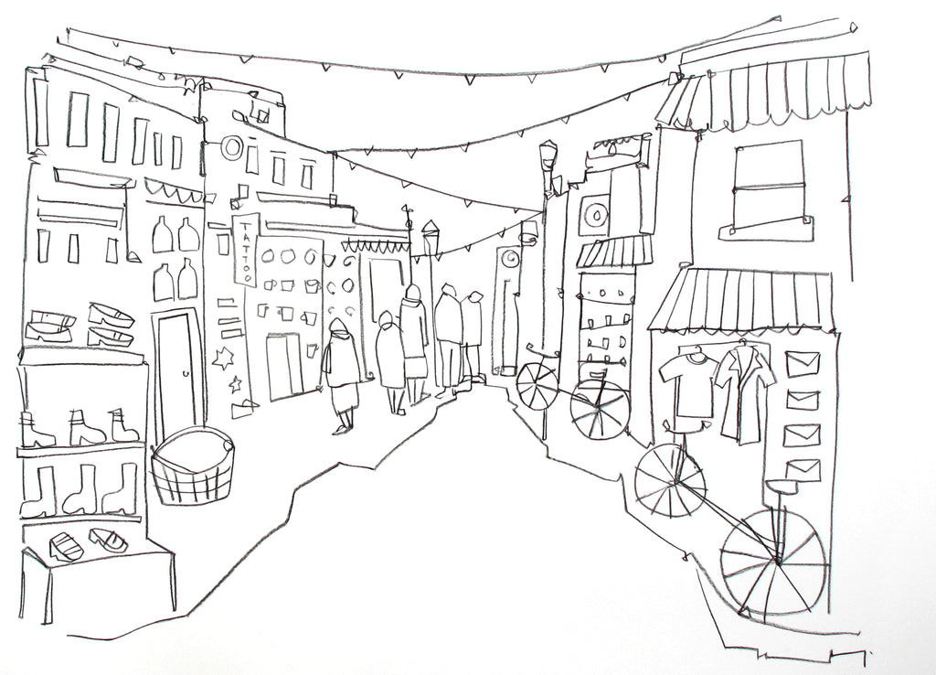 Original contemporary line drawing of Brighton's North Laine by Katty McMurray