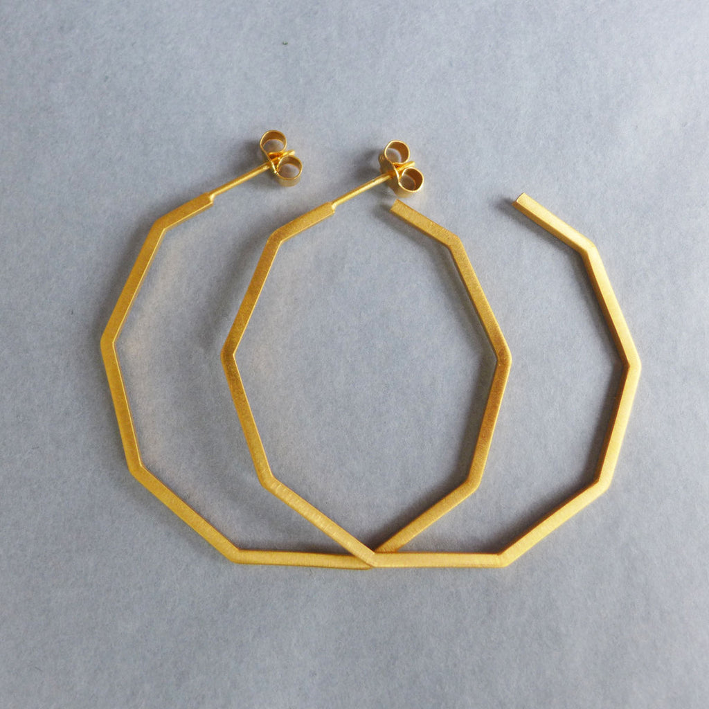 Copy of Large decagon hoop earrings in gold vermeil