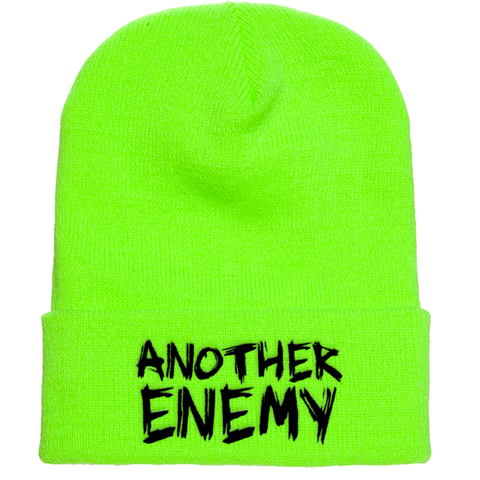 Another Enemy  Logo Beanie Safety Green