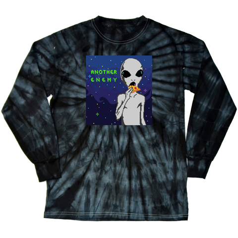 Cheesy Encounters Long Sleeve T-Shirt Black Tie Dye