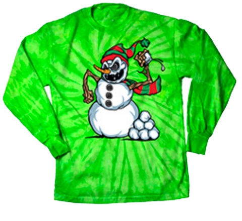 Snowball Fight Long Sleeve T-Shirt Lime Tie Dye