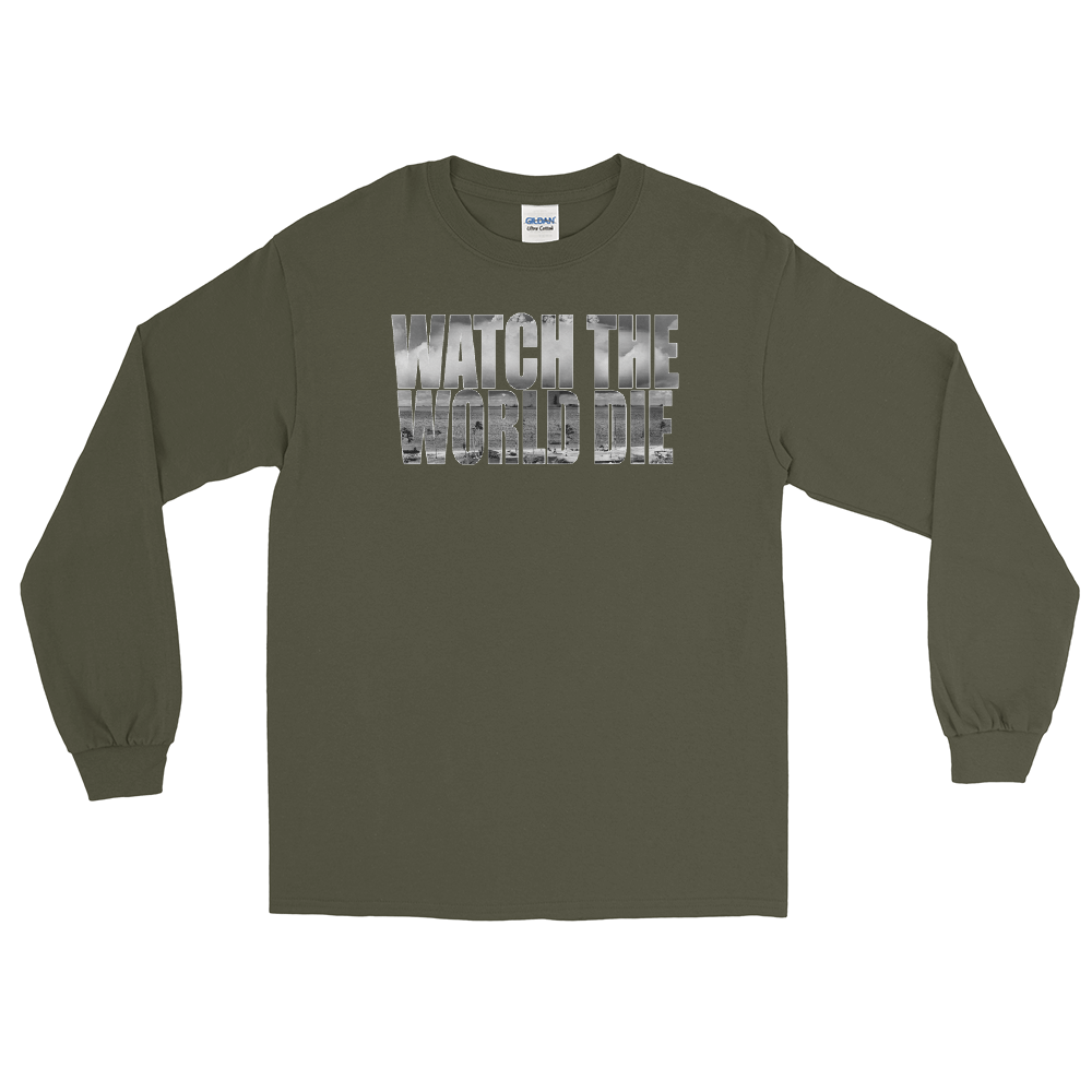 Watch The World Die Long Sleeve T-Shirt Olive