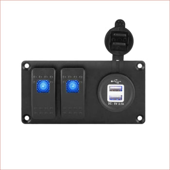 2 Gang Rocker Switch Panel w/ USB charger - Helmetkarts