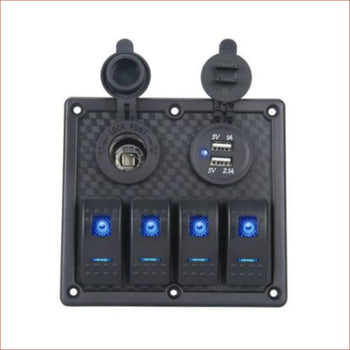 4 Gang Rocker Switch Panel w/ USB Charger and Cigarette lighter - Helmetkarts