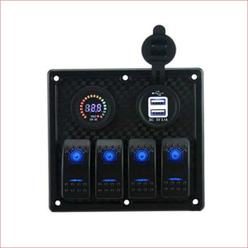 4 Gang Rocker Switch Panel w/ USB Charger - Helmetkarts