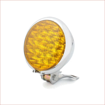 "5"" LED Chrome Amber Head lamp light - 3/5 watts - Helmetkarts"