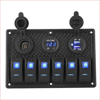6 Gang Rocker Switch Panel w/ USB charger and Cigarette lighter - Helmetkarts