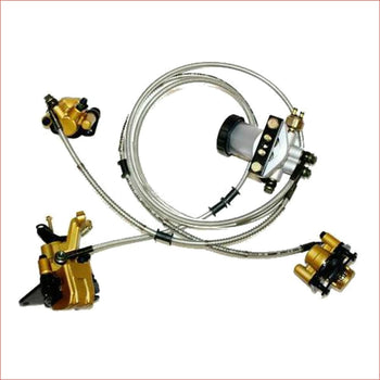 Foot hydraulic brake setup (2 Front / 1 Rear) - Helmetkarts
