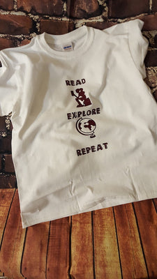 """Read, Explore, Repeat"" Kids Tee"