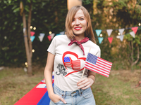 USA Flag Heart Tee