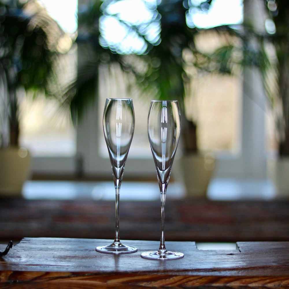 Set of Crystal Champagne Flutes by Lunar Oceans