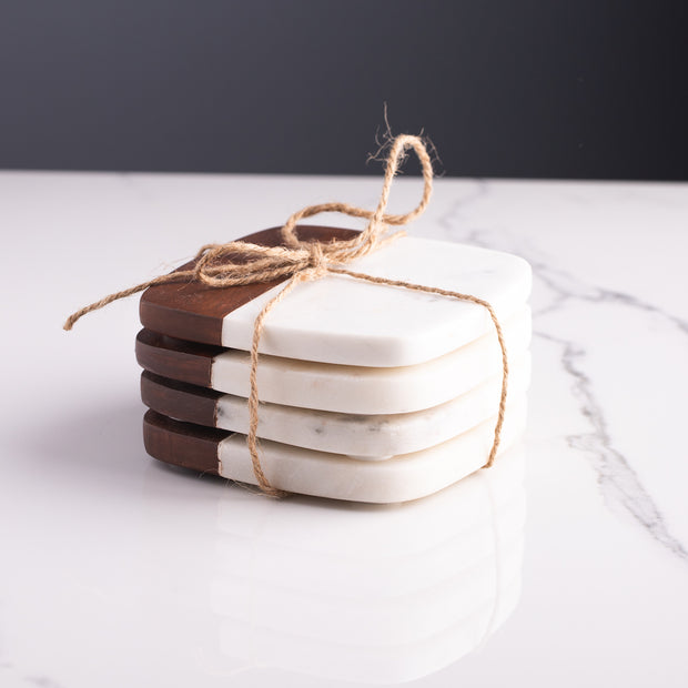 Marble and Acacia Wood Coasters, Set of 4