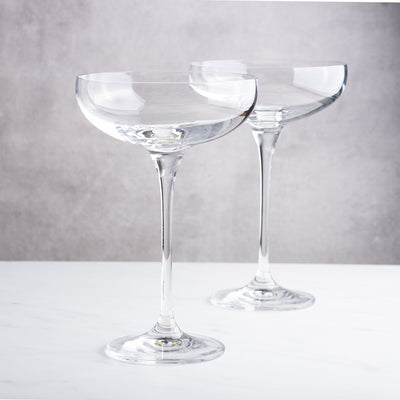 Champagne Saucers, Crystallised Coupe Glasses by Lunar Oceans