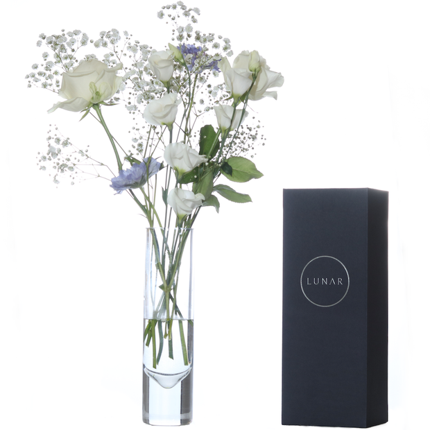 Tall Glass Flower Vase, Gift Boxed by Lunar Oceans