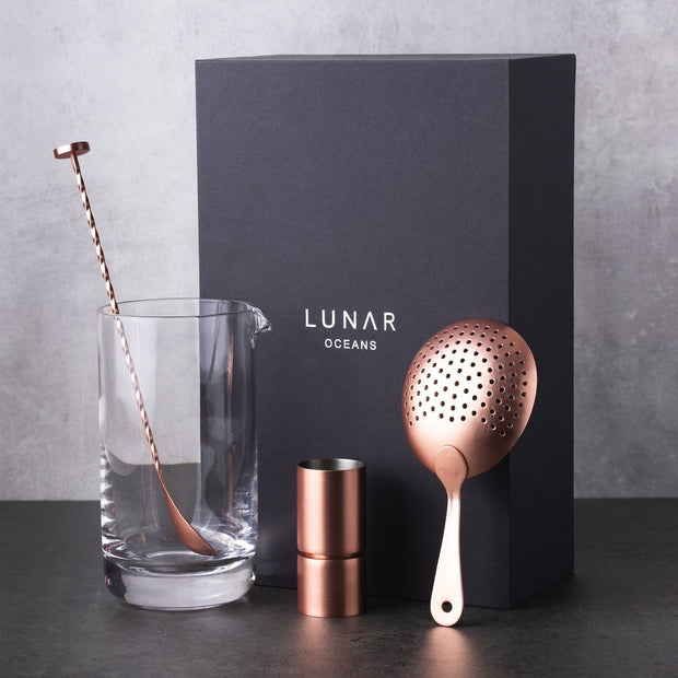 Mixing Glass Strainer Jigger Stirrer Cocktail Set Lunar Oceans