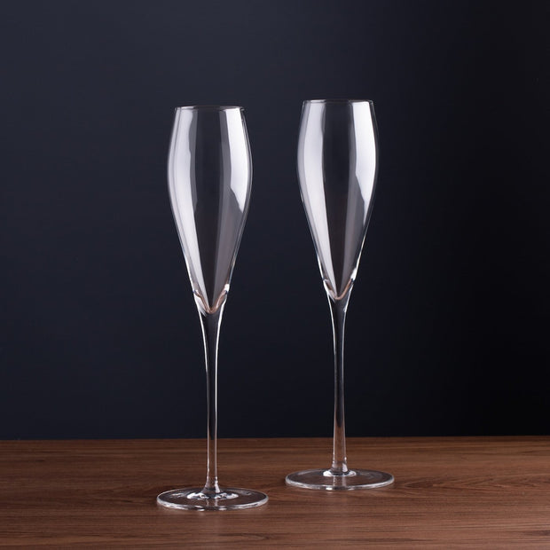 crystal champagne flutes set of 2