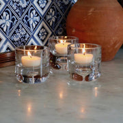 A set of 3 glass tealight holders