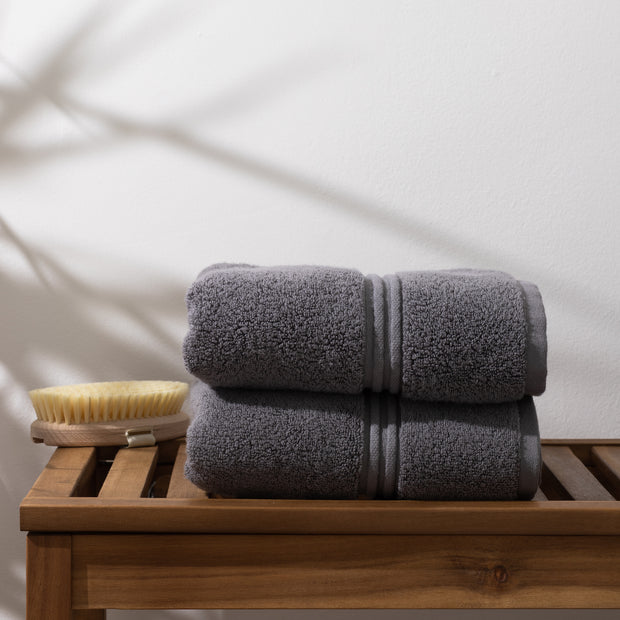 Set of 2 Hand Towels Grey