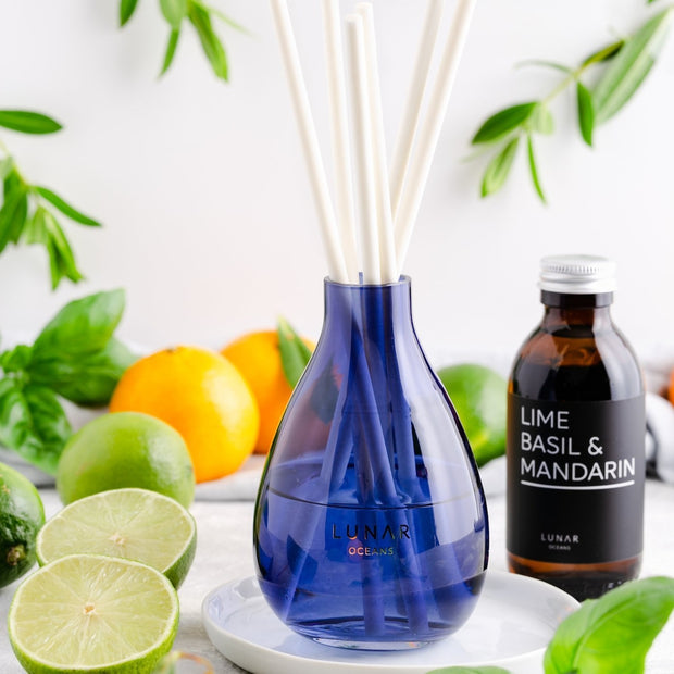 lime basil mandarin reed diffuser with blue vase